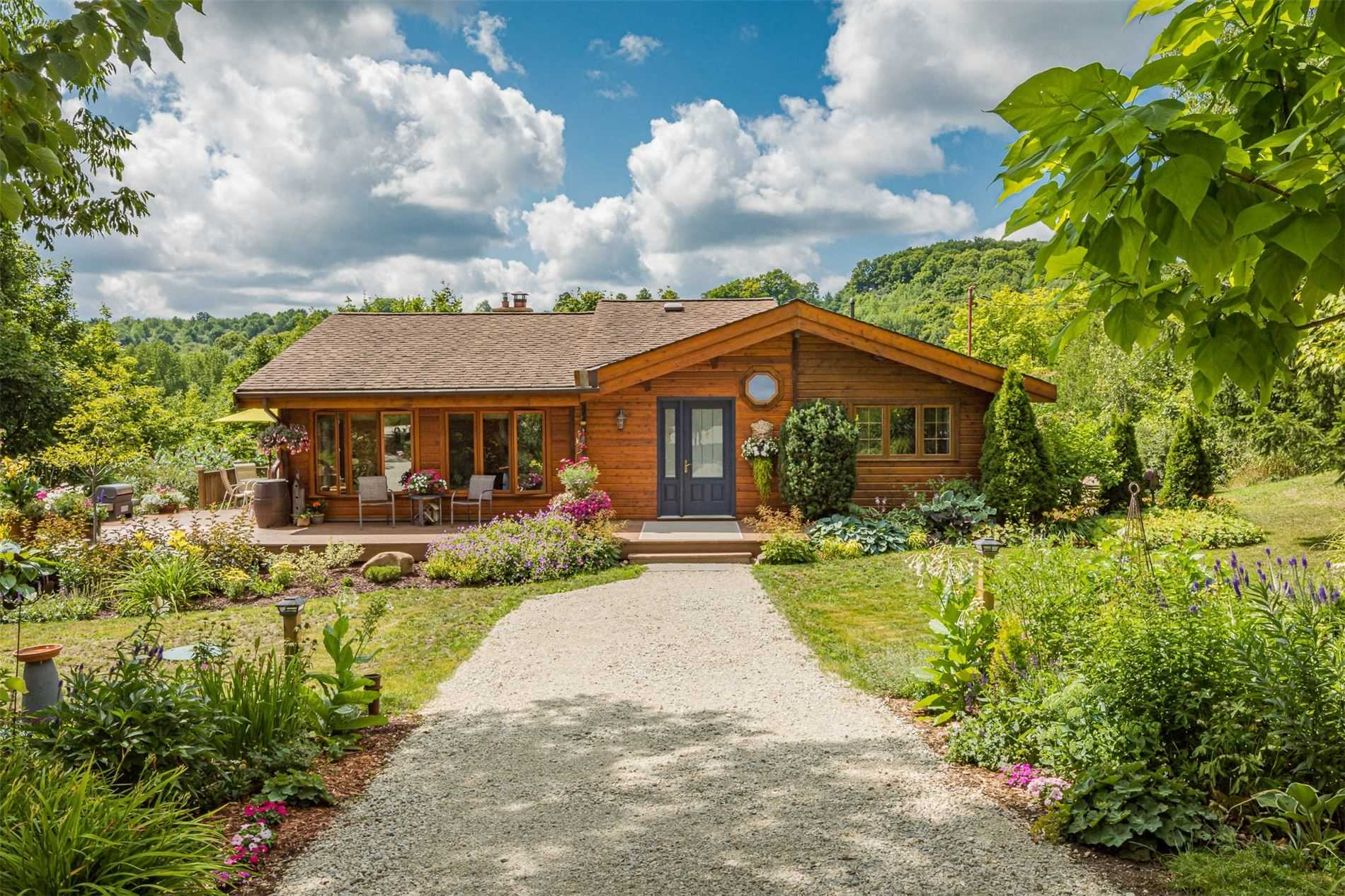 Beautiful Western Red Cedar Pan Abode Style Cabin Originally Built In 1960'S & Expanded In 80'S. The 50 Acre Property Located In Glen Huron On The Niagara Escarpment, Is Perched Above A Picturesque Ravine With A Stream And Many Hiking Trails Throughout. Main Floor Has 2 Beds, 3-Pc Bath, Sunroom, Vaulted Great Room W Living & Dining Featuring Lrg Windows & Field-Stone Fp. Lower Level Has 1 Bed, 2-Pc Bath & Lrge Rec Room. Beautiful Gardens & 2 Car Garage.