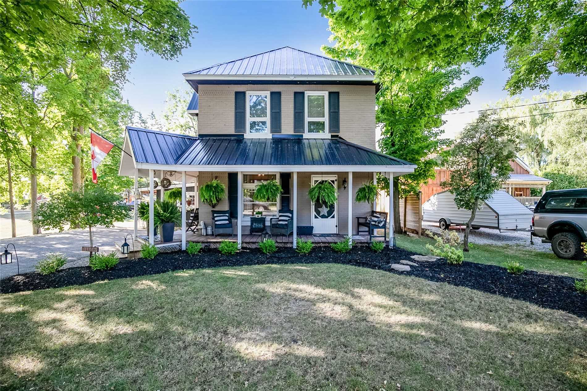 1800'S Century Home In Quaint Town Of Creemore On 66 X165 Lot. 1700 Sqft Renovated Home W/Mix Of Rustic & Modern Flair. 9Ft Ceilings, Maple Hw Flrs, Custom Pine Kitch Cabinets, Quartz Counters, Tile Backsplash, Custom Lndry Area W/Built-In Cabinets, Sunken Fam Rm W/Gas Fp & W/O To The Back Yard/Large Deck. Upgrades Includ Pot Lighting On Main Lvl, 200 Amp Panel, Lrg Storage Shed, Steel Roof Plus New Furnace, Hot Water On Demand & Water Softener-All 2018.