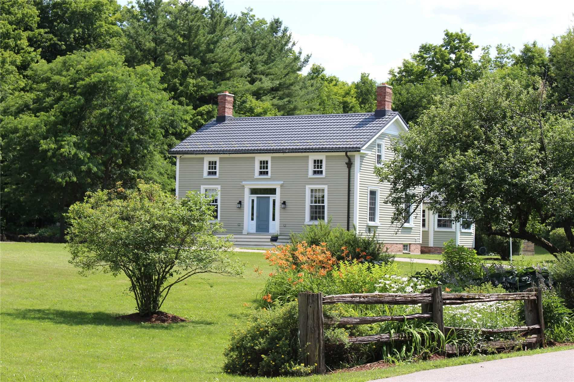 Spectacular Georgian Estate (C.1856) On 42+ Acres Of Secluded Countryside. 4+1Bed, 3.5Bath W/Original Pine Cabinets, Floors, Trim &Doors. 2 Stry Dbl Garage, Lg Country Kitchen W/Cladded Appliances & Built-In Meile Coffeemaker. Formal & Family Living Spaces, Library W/Fireplace, Exquisite English Country Gardens. Finished Basement W/Inlaw Potential. Property Features Trails, Barns &Outbuildings Incl An Indoor Hockey Rink! Mins To 401 & All Amenities