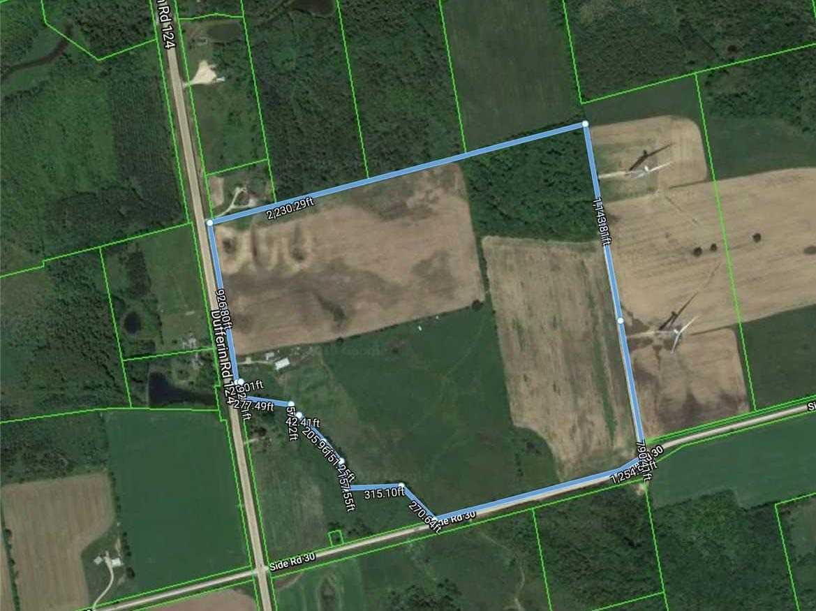 Terrific 87.35 Acres With Verg Big Frontage On Hwy 124 And 30th Side Rd. Just North Of Shelburn. 65 Acre Of Potato Farm. Brand New Kitchen & Bathroom Tiles Done In 2019. 40 X 80 Feet Barn Farm And House Are Rented Separately, The Tenants Are Willing To Stay.