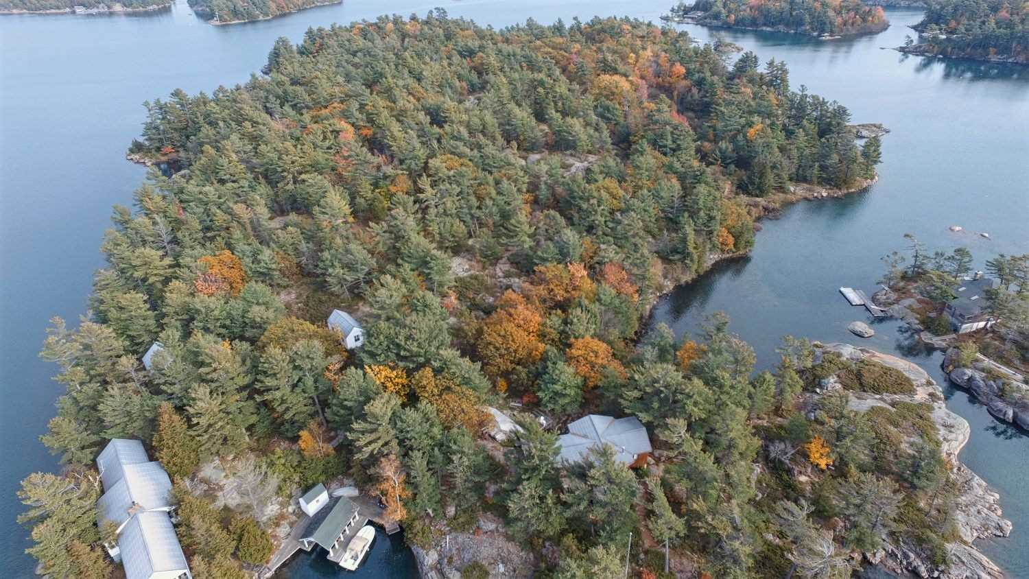 Just In Time For Summer!Rare Opportunity To Own 4 Cottage Family Compound On Richard's Island &Short Distance From Open Waters Of Georgian Bay (Pointe-Au-Baril Community).Sits On 11.5 Acres W/Magnificent Views & Seemingly Endless Shorelines.The Main Cabin Fts:High Ceilings, Lrg Lr W/Grand Stone Fp, Huge Kitchen, Mstr W/Ensuite +2 Bdrms, Fam Rm O/L Water.Viceroy Cottage W/Full Kit, Liv Rm W/Fp & W/O To Lrg Deck,2 Good Size Bdrms,Full Bth.2 Additional Cottages