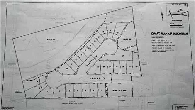 This Lot Is Right In Town On The Eastern Side Of Havelock. The Drawing Is Of A Draft Application Which Had Studies Completed In 2012. Consisting Of 33 Lots, 23 Detached And 10 Semis. Purchaser To Confirm If Application Could Be Restarted And Continued And Whether Studies Could Be Updated. Many Other  Possibilities For The Land. Now Is The Time To Invest And Develop In Peterborough County As Many  Retirees And Work From Home Professionals Move Out Of The City!