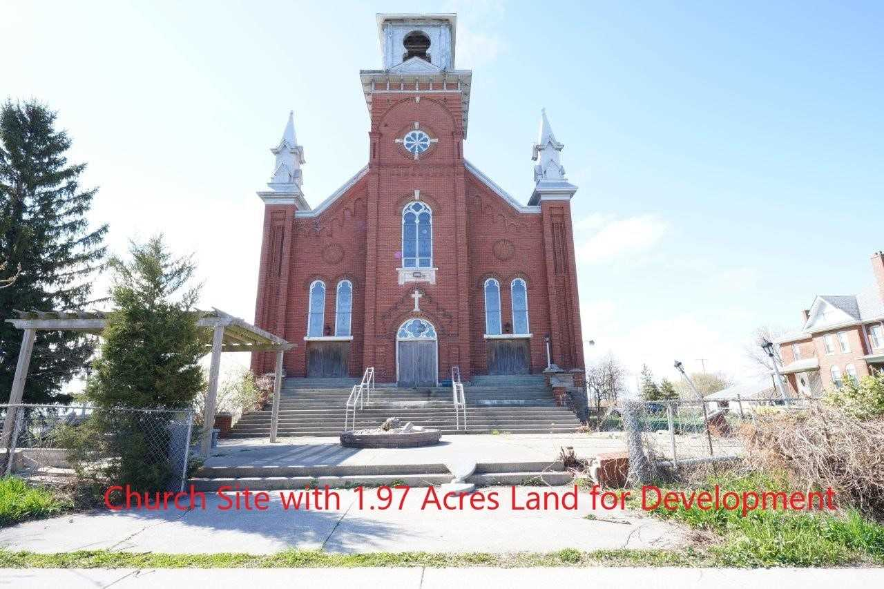Church Site With 1.97 Acres Land.Up To 70% Vtb Financing Available.Current Zoning Allows Multiple Usage. Potential For Residential,Commercial,Apartment,Plaza,School,Community Centre,Hotel,Funeral Homes,Fitness Centre,Mixed Use And More.Seller Has 12 New Homes Site Plan Near Final Approval Stage.Seller Can Also Help Buyer To Build/Develop Etc. Old Church Built In 1920 With Above Ground 11,839 Square Ft+Hugh Walk Out Finished Basement.30 Minutes From Windor