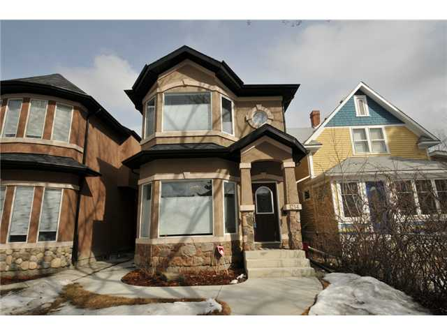 ELEGANTLY APPOINTED!!! GREAT LOCATION, minuets to SAIT, U of C, shopping and city center. This gorgeous infill home features tons of upgrades such as 9' ceiling, hardwood floor on main level, beautiful maple kitchen, walk-in pantry, granite counter tops, classy light fixtures, gas fireplace with maple cabinetry, bright den w/bay window, curved staircase, top of the line stainless appliances, 3 large bedrooms on upper level and all with walk-in closets, master bedroom with fabulous en suite, sky light, 2 sinks, granite counter top, vaulted ceiling, 4pc main bath, laundry room with built in cabinets and stylish window coverings. The exterior is nicely landscaped, concrete walkway and double detached garage. This home shows 10/10. Very impressive!!!