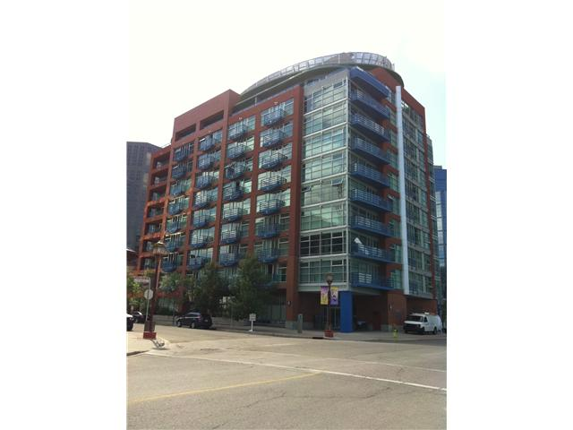 Enjoy your unobstructed view of the Bow River from your ninth floor home!  Bright and spacious this 840sq ft one bedroom plus den condo is ready to move in to.  Ideally located it is within walking distance to all of the amenities of Eau Claire Market and Downtown.  This suite has many great  features including, granite counters, light maple cabinets, balcony, floor to ceiling windows, air conditioning, stainless steel appliances, storage in-suite, laundry in-suite, heated titled underground parking, natural gas fireplace and walk-through closet in the master.  Well maintained concrete building, built in 2001.  Attention first time buyers or investors.  All furniture and contents can be included with the condo which would make it ideal for an executive rental.