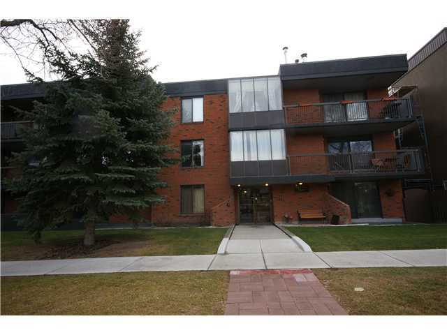 Spacious rooms in a 737 sq ft one bedroom condo located on the second floor. This is a very quiet end unit with easy access to the elevator & parkade. Huge bathroom has a  deep soaker tub and FULL-SIZED laundry appliances. Concrete building with secured heated underground parking as well as bike racks in the parkage. Your stall contains an extra  storage locker. Unit comes with a stone faced corner natural gas fireplace, storage room,remote control lighting, custom blinds & new carpet & paint thruout. 10 minute walking  distance to downtown core and close proximity to Bow River pathway system for biking or jogging. Two blocks from off-leash Rotary Park & Mt. Pleasant Tennis Club. No animal  home, but small pets allowed with board approval. Well-maintained responsible run complex. Healthy Reserve Fund. South facing living area for lots of natural light. Floor plan is  such that bedroom remains cool & quiet with dimmer switch lighting & ceiling fan. Double-sided mirrored closet makes doing laundry a breeze.