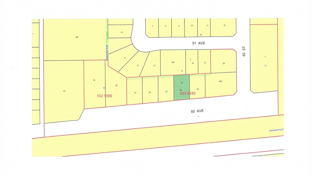 Lot 24 is a large 75'x121' residential vacant lot in a newer subdivision. New paved road and sidewalks in place and municipal services at property line. The Village of Warburg is centrally located about thirty minutes from Leduc, Drayton Valley, Stony Plain, Nisku and the Edmonton International Airport and 15 minutes from Pigeon Lake and Genesee Power Plant.