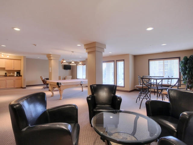 The large combined social room in the B building is the best spot to go have a friendly gathering and enjoy the pool table, club seating, watch a hockey game and just chill.
