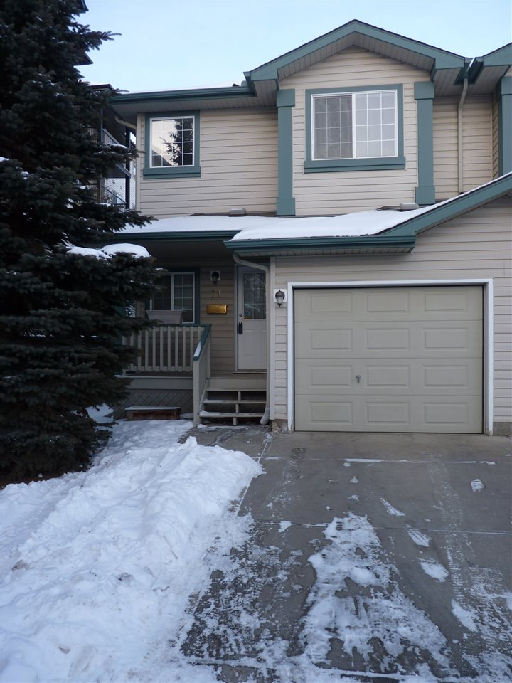 Here is a great starter home located in the west Edmonton community of Glastonbury. This end unit, with a fully finished basement & a garage, is located at the end of a cul-de-sac within the complex assuring a quiet location. The master bedroom features his and hers walk-in closets plus a 3 piece ensuite. The second bedroom is as large as the master & a full 4 piece bath complete the upper level. An open concept plan on the main floor includes the kitchen, dining, and living rooms. You will enjoy letting the gas fireplace warm you to the core during those long winter months while the central air conditioning will keep you cool all summer long. A fenced & gated back yard is accessible along the side of the home or through the patio doors. A good size deck provides great outdoor entertaining and dining options for when the weather is more agreeable. A secure storage shed is also included! Located near countless shopping, entertainment, dining, & recreation options and great access to public transportation
