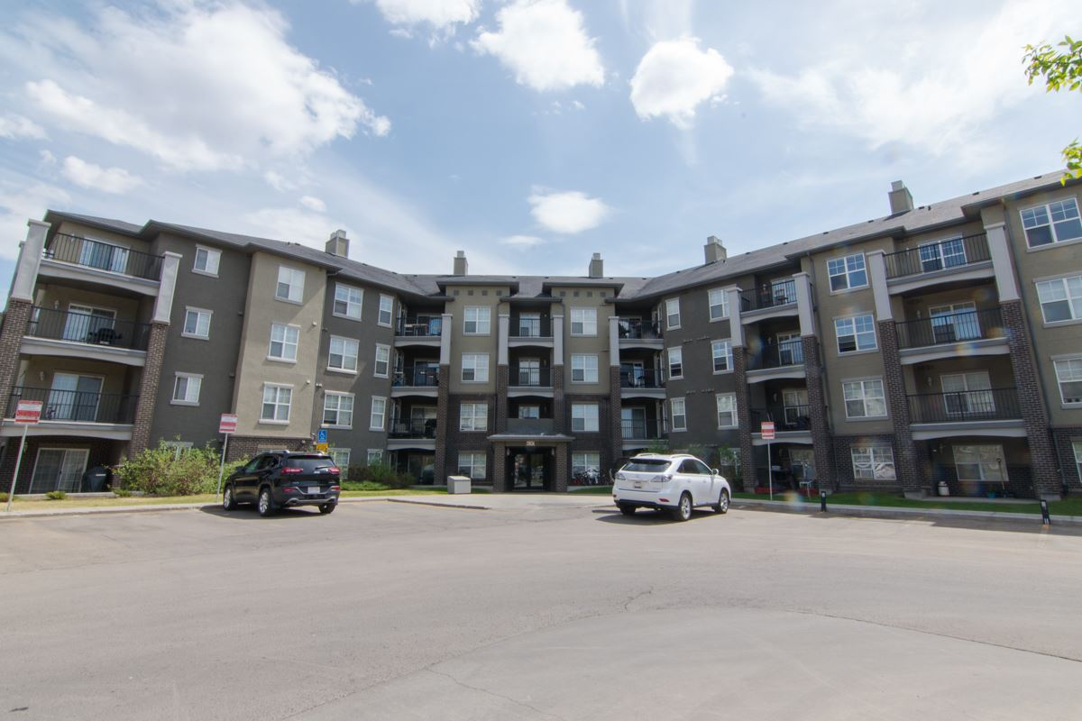 Facing trees/green space, this condo in MacEwan Village has 1 bedroom, 1 bathroom, and 647 square feet of living space plus a balcony and an underground heated parking stall! The open kitchen offers plenty of cupboard and counter space, and from the living room, you can step outside the sliding glass doors to the balcony overlooking green space! The master bedroom features a 4 piece ensuite with a 2nd door to the main living area, and a laundry room complete this terrific condo You will enjoy easy access to the Anthony Henday, you are just a short walk away from all of the shopping you need and the beautiful walking and biking trails in Blackburn Creek Park!