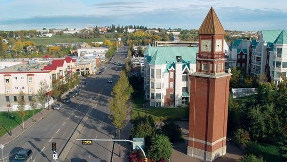 The view from the corner of Sir Winston Churchill looking north to the Father Lacombe Chapel atop Seven Hills in Mission, is a view you never get tired. of. The downtown area of St. Albert is a vibrant community.