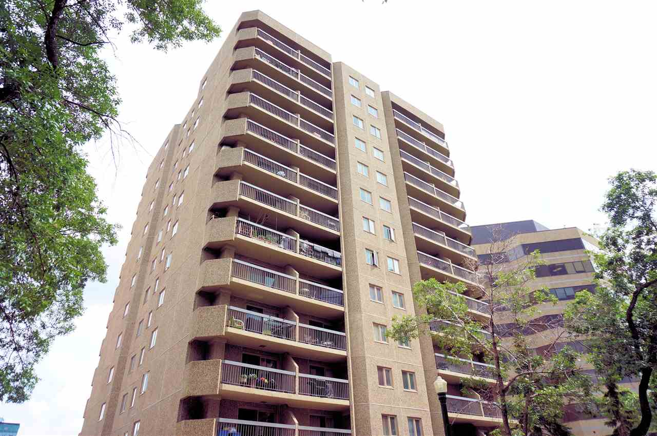 "YOUR RIVER VALLEY LIFESTYLE AWAITS! 2 bedroom + 2 bath condo in ""Tower On The Park"" in sought after GRANDIN/OLIVER. Main features are: spacious living room, modern kitchen with stainless steel appliances,  in-suite laundry, efficient entrance with extra storage, and west facing balcony.  Master bedroom offers 3pc ensuite, while the 2nd bedroom is beside the main bath.  You will enjoy your heated underground parking stall.  All utilities included in condo fees. This fantastic location will be your epicenter to the River Valley, the Legislature, and Downtown with plenty of shops, galleries, and fine dining.  Convenient  to U of A, Grant McEwan Campus, and NAIT.  STEPS FROM GRANDIN LRT STATION!"