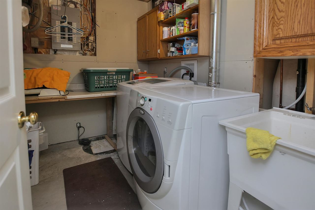 There is a full laundry room in the lower level. The soaker tub is very handy and there is a lot of space for storage of all your laundry needs.