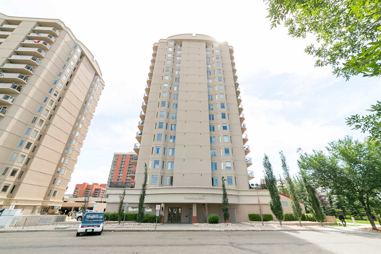 Welcome to The Cosmopolitan - located in the heart of Edmonton?s most vibrant and expanding community. Just 4 blocks from the new Rogers Arena set to open in 2016. Within walking distance of many amenities including Grant MacEwan University, Norquest College, grocery stores, the LRT, and many of Edmonton?s best restaurants! This 2 bedroom/2 bathroom corner unit features 913 sq/ft of bright and open living space overlooking Railtown. Other features of the unit include a large West-facing balcony with a gas hook up, central A/C, in suite laundry, a Master walkin closet and 4pce ensuite, and a large kitchen with plenty of counter space, including a breakfast bar. This 2004 building has many luxury features with concrete exterior providing superior soundproofing, exercise room, and plenty of visitor parking for guests. This unit also comes with TWO TITLED PARKING STALLS (one indoor main floor #16 & one outdoor #135 situated at the back of the building). The outdoor spot is currently rented for $150 per month.
