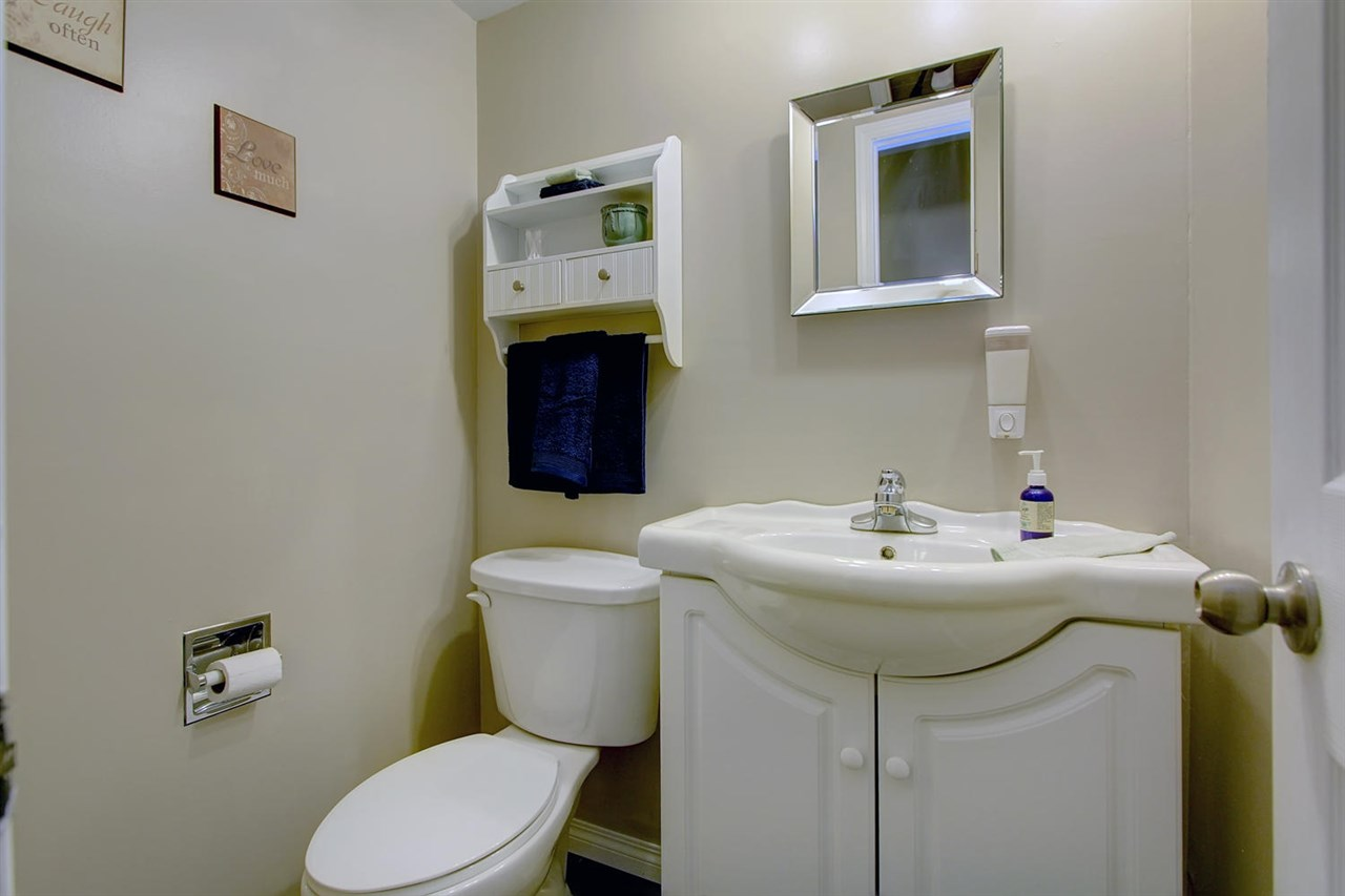 The handy powder room is located in the perfect location. It has been updated to utilize the space well.