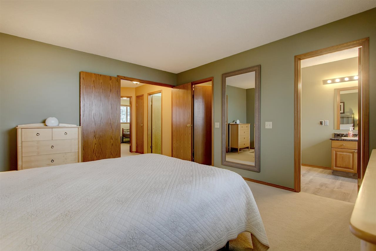 The Master bedroom is spacious and has great features. Double doors give a nice impression, the ensuite entry and walk in closet entry are on the same wall to allow for furniture placement with ease on the other 3 walls.