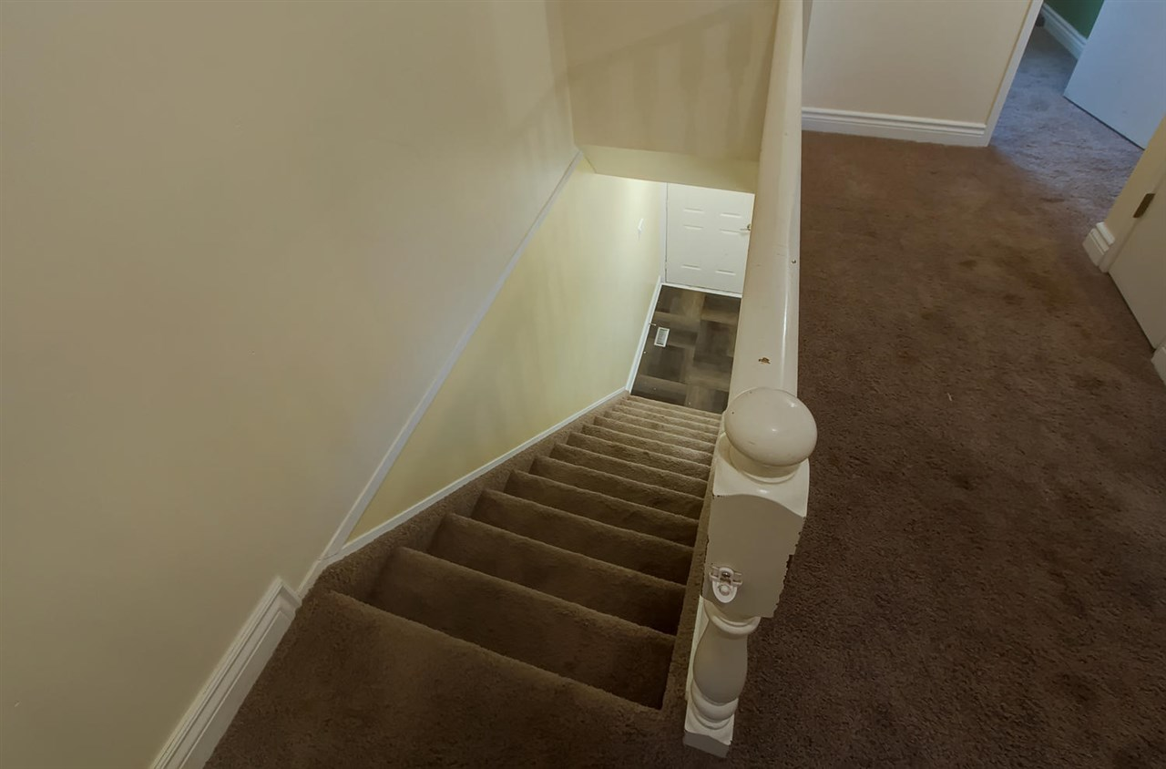 The stairwell is carpeted for extra safety.
