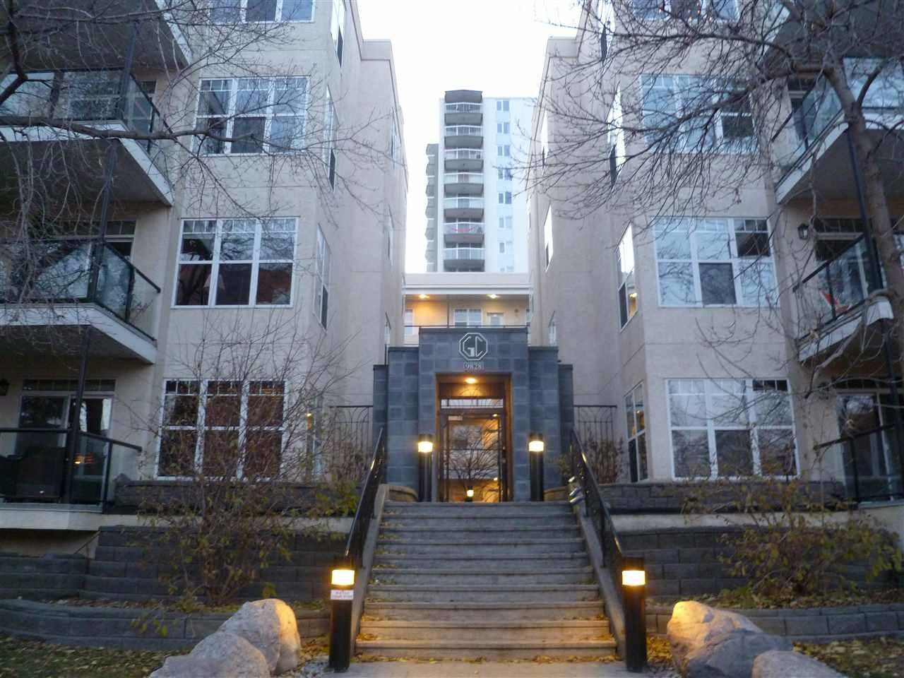 Once inside you will love this spacious 1000 square foot condo. West facing deck so there is a nice view of the valley. 2 bedroom one bath with separate tub and shower. Large bar. Laminate flooring. Main floor unit for easy access. 2 underground parking stalls with large storage. Conveniently located near river valley and Jasper avenue, but far enough that it is quite quiet.