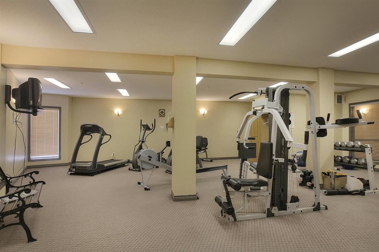 The larger gym of the complex is located on the main floor of the A  building. There is enough exercise equipment to keep a multitude of residents busy at the same time.