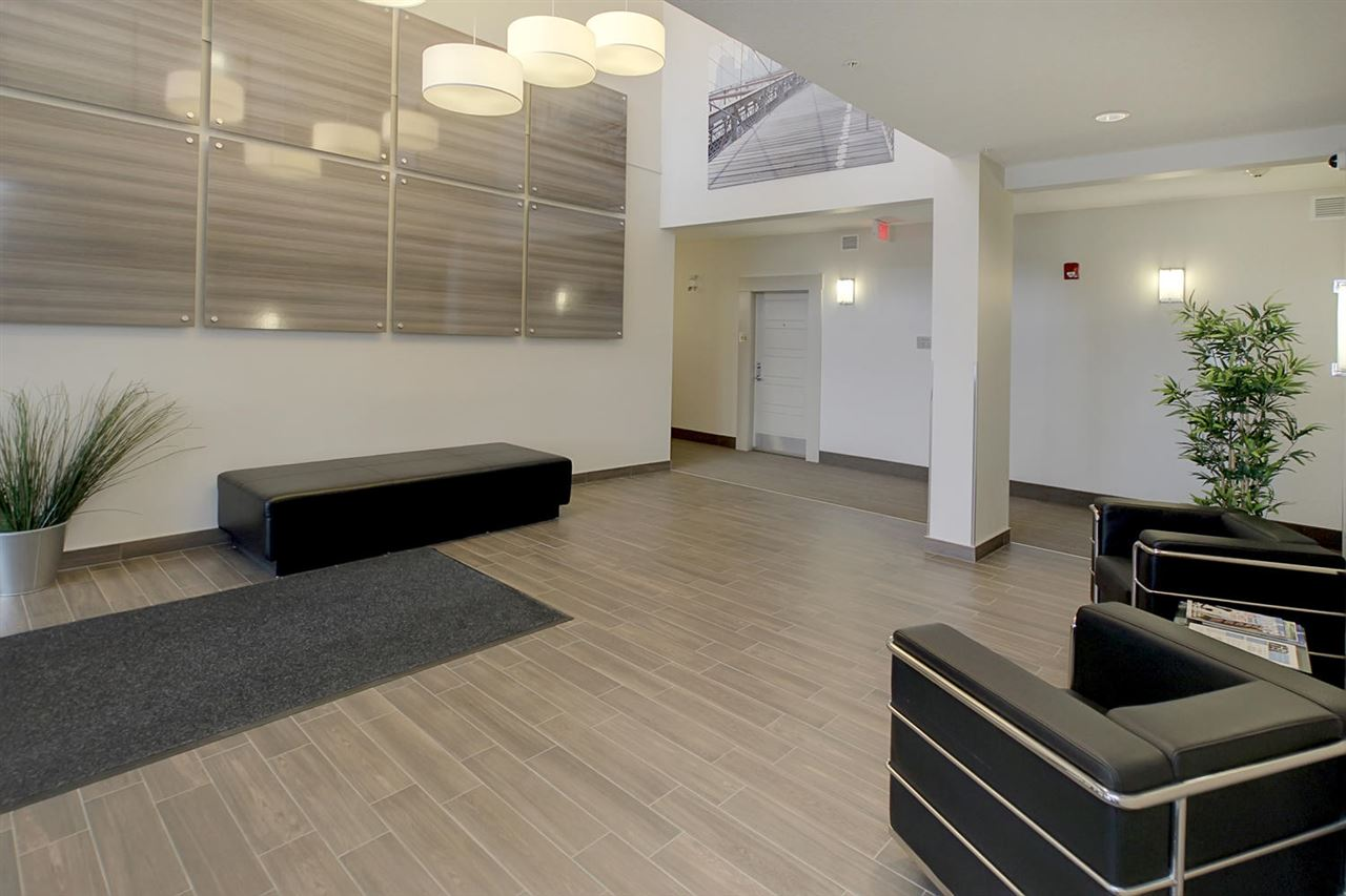 This view of the central lobby shows the laminate flooring has been used here also.