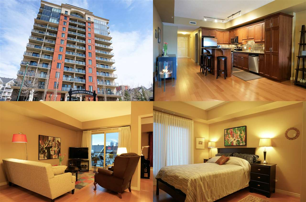 "THE EXECUTIVE LIFESTYLE!  This 1,063 sq.ft. IMMACULATE 2 bedroom and 2 bath, 6th floor east facing, 18+ condo in sought after ""Alta Vista South"" has it all!  Features include: engineered hardwood floors, 9 ft. ceilings, A/C, open concept kitchen with granite, stainless steel appliances, and breakfast bar/island. The bright and spacious living room leads to the covered balcony offering fabulous Downtown views.  One underground parking stall and all utilities are included in the condo fees, except power.  Building amenities: Fitness Room, Guest Suite, and Visitor Parking. Just blocks from Ice & Brewery Districts, Grant MacEwan, and LRT.  Quick access to The University of Alberta Campus, and River Valley.  SUPERBLY SITUATED!"