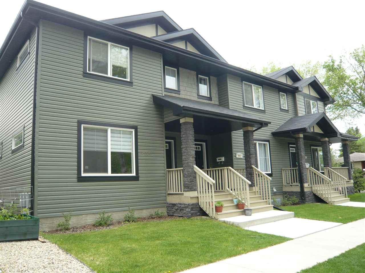 Clean and Bright 2 storey. Great floor plan. Near New Tri-Plex, infill in Hazeldean. Open kitchen, eating and living room. 3 good sized bedrooms. 4 pce Ensuite. Hardwood on main. Tile in baths. Granite counters in kitchen, Stainless Steel Appliances. Considered a condo but fees are super low and cover the insurance for the building. Cost efficient center unit. Single Detached Garage parking. Awesome location. Steps to Millcreek Ravine. Quick access to Argyll road or Whyte Ave. Low maint landscape, fully fenced, cute deck and front porch. Quality Building. Curb Appeal. Great place to live!