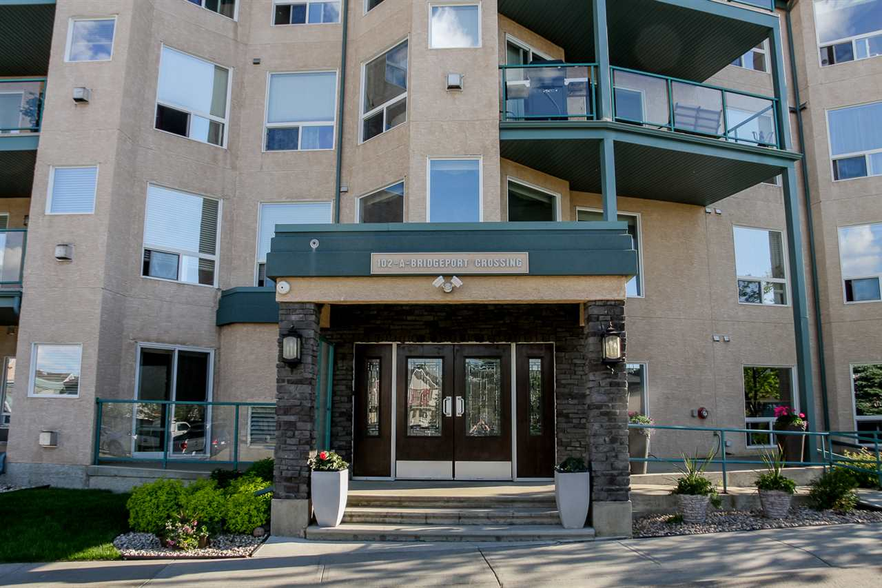 Clean, quiet & elegant are just a few words to describe this 1238 sq ft adult only (18+) single level condo at The Springs at Bridgeport Crossing. It is a beautiful  suite with 2 bedrooms, 2 bathrooms and 2 balconies, & natural light all day from the oodles of sw and north facing windows! There is a cozy gas fireplace & sliding glass doors to one balcony in the living room & the kitchen has lovely cabinets, tile back splash & granite counter tops. The master is a good size with a walk in closet and 3 pc ensuite and sliding glass doors to the second balcony. There is in-suite laundry and six appliances come with the unit, as well as being equipped with air conditioning. This unit also includes two heated underground parking stalls, and your condo fees include heat, water and sewer. The building includes a social room, library, and guest room options. This condo is perfect for the person who is ready to downsize and with newer paint and trim along with immediate possession, it is move in ready!
