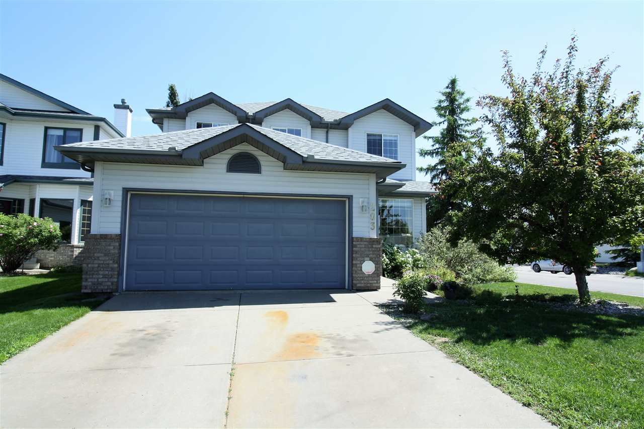 Beautiful 1930 sq ft, 2 storey with double attached garage located in the mature and family friendly neighborhood of Dechene. The main floor has a very inviting entrance with vaulted ceiling, bright and spacious living room, kitchen features oak cabinets, stainless steel appliances and a walk-in pantry. Dining area has large windows that let in plenty of natural light. Cozy family room with a mirror surround corner gas fireplace, a 2 piece bathroom and main floor laundry complete this level. Upstairs features a huge master bedroom with large walk-in closet and ensuite, additional 2 good sized bedrooms plus a 4 piece main bath. Fully fenced and landscaped backyard, a large deck with seating and flower boxes. Great location, facing the Dechene park, steps to schools, close to shopping and quick access to Anthony Henday. Recently upgraded shingles.