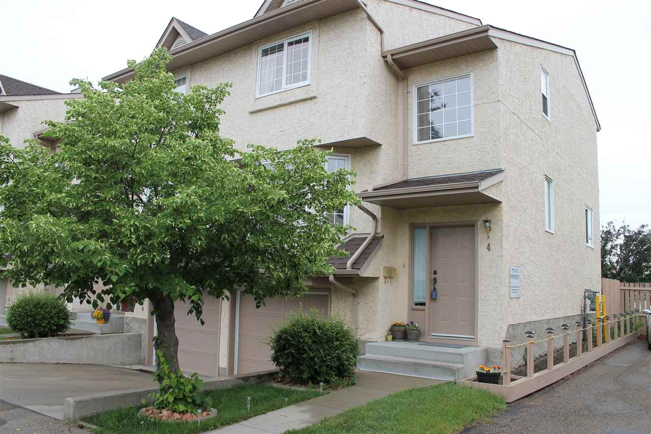 Well Maintained 3 Bed, 3 Bath, END UNIT Townhome in Kirkness Backing onto the Community Garden! Main Floor Features a Beautiful Fireplace in the Living & Dinning Room, Newer Flooring Throughout! Newer Counters and Backsplash in the Kitchen! Upstairs has a Large Master Suite w/ Full Ensuite, 2 Additional bedrooms and a 2nd Full Bath! Basement has access to the Attached Garage as well as a Spacious Den! Great Location w/ easy access to LRT, Anthony Henday, Manning/HWY 15, 137ave, 153ave and a short drive to the Edmonton Garrison or ERC or the Clareview Rec Centre! Shingles and Windows have been replaced in the past 5years!