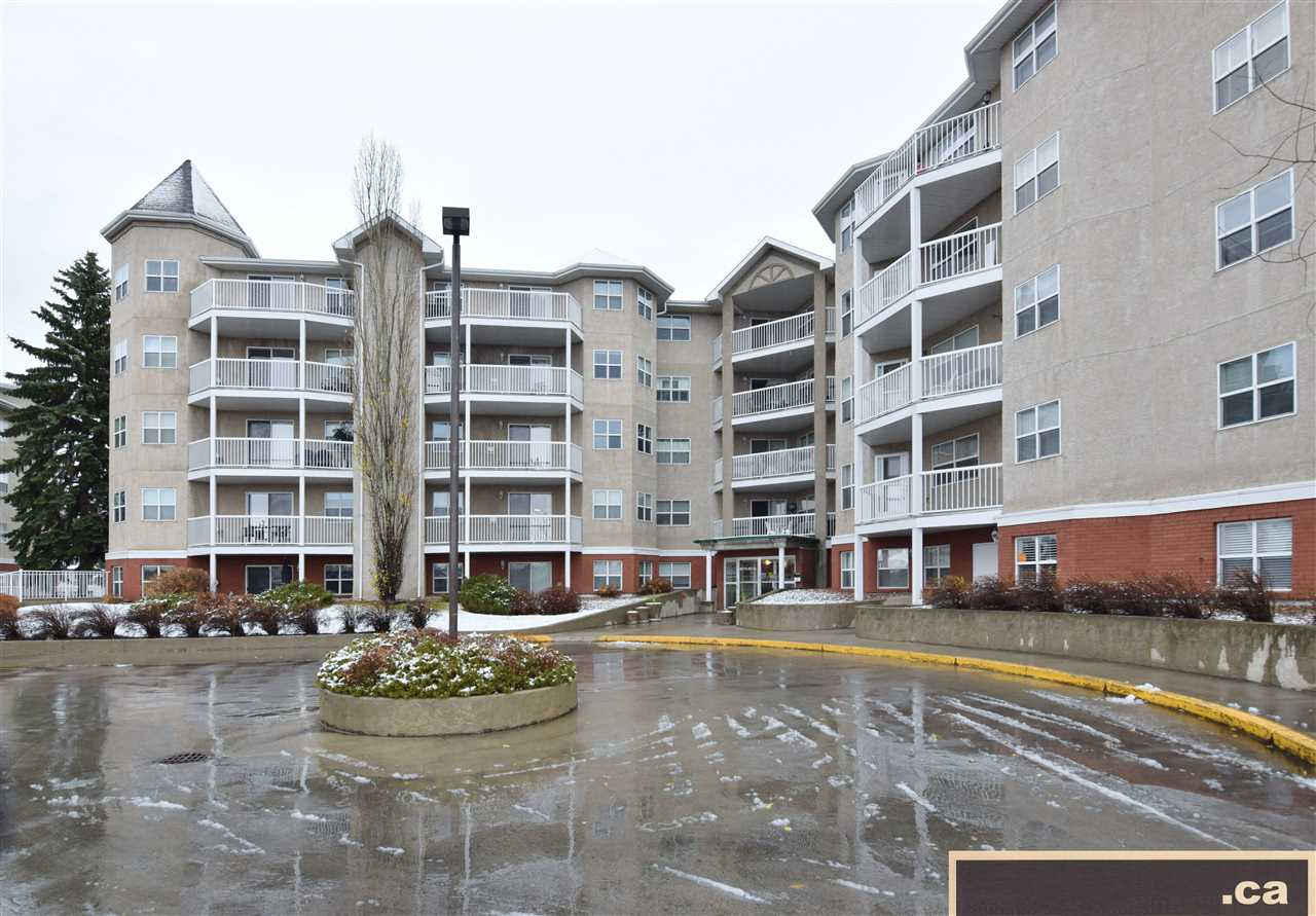 *Very good condition:  Adult 50+ 2 bedroom unit fourth floor in Melrose Court - across from Bonnie Doon Shopping Centre and future LRT!  Features include:  large kitchen with plenty of cupboards/counters; some newer appliances; newer light fixtures; gas fireplace; sizable 9.5'x6' balcony with nice southeast views; and convenient access to elevator and garbage disposal.  Well-maintained complex offers numerous building amenities:  large/open social room with library; guest suite; in-suite laundry; intercom; fire sprinklers; underground heated parking and storage; visitor parking; and an on-going variety of group activities available.  Immediate possession - a wonderful opportunity!!!