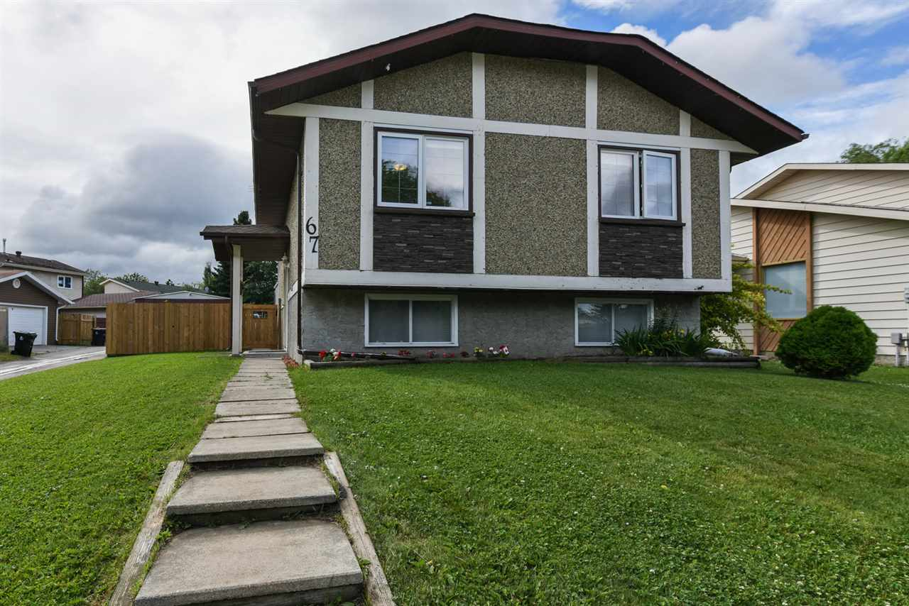 Spectacular fully developed 970 sq ft bi-level in Spruce Grove's Grove Meadows subdivision. There are 2 spacious bedrooms on the main floor plus 2 spacious bedrooms or flex rooms in the fully developed basement. there are 2 full baths, laundry room in addition to a private living room and bright kitchen.  Upgrades include bedroom windows, a main bathroom, R-40 attic ins., 2012 furnace plus 2016 hot water tank plus shingles. Laminate and ceramic tile on the main floor/wall to wall carpet throughout basement level. Oversized single garage, sunny back yard with oversized deck 10ft x24ft plus storage shed. Walking distance to Greystone school K-9, parks, public transportation and quick access to the Yellowhead Hwy 16.