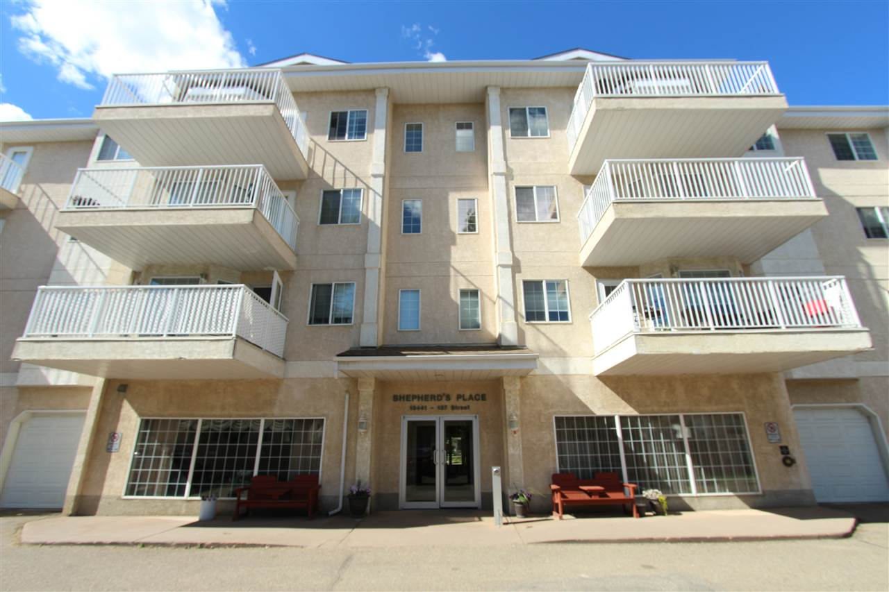 You will feel like the King, or Queen of Kensington in this spacious 3rd floor unit. Just move in and enjoy, new carpets, new linoleum and freshly painted. This sought after retirement complex boasts a park-like court yard, pharmacy, dining facility, games/social room and a beauty salon. This large one bedroom has a nice sized living room, the kitchen has a corner pantry, oversized eating area with extendable eating bar. The unit boasts in-suite laundry and a large south facing balcony. Parking stalls are available for rent. Close to all amenities and shopping along 137 AV. A great place to make new friends!!