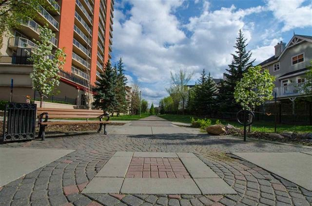 On a quiet side street next to a park offering tranquil green space yet in the middle of Edmonton?s Bustle is The Cosmopolitan. Ideally located close MacEwan, UofA, NAIT, Save On Foods, restaurants, LRT, shopping, the arts, Brewery District, Arena District + the River Valley. This gorgeous home offers; a/c, newer high-end laminate, spacious living room, 2 large bdrms at opposite ends both w/walk-in closets, 2 bathrooms, timeless white kitchen w/eating bar + newer ss appliances, in-suite laundry, large west balcony to enjoy sunsets w/ Gas line. BONUS: Lots of Storage in the unit, storage room on the balcony and an additional separately titled storage locker in the parkade (Unit 258 -#34). Plenty of parking too; a titled Underground Unit 222 (#103) and a titled outside stall unit 313 (#158). Building amenities include an exercise room, 2 elevators and 8? thick concrete floors, walls and ceilings for superior sound proofing. Overall a great choice for comfort, security, convenience and seamless Urban living.