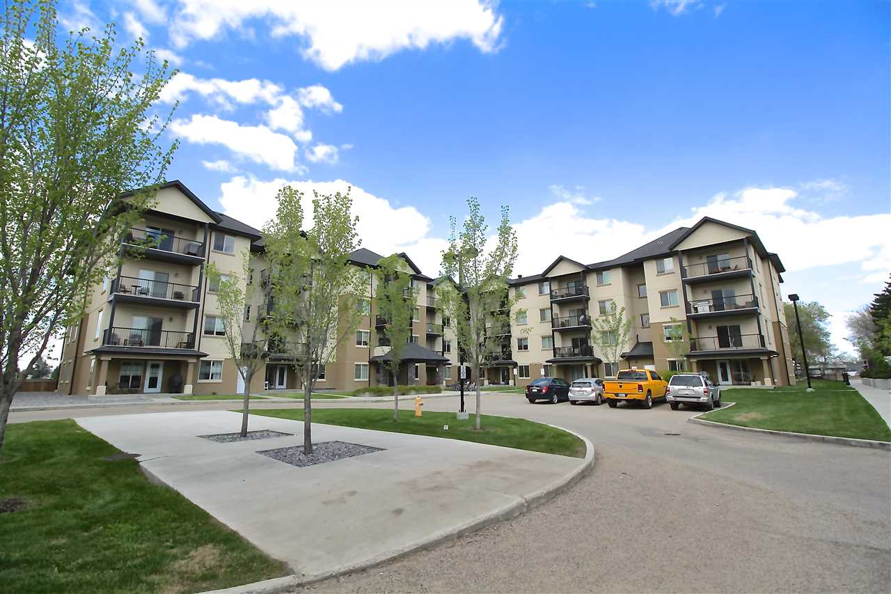Excellent condo located in the SERENITY GARDENS development! This 1 bedroom + den unit features PARK VIEWS, in-suite laundry/storage, AIR CONDITIONING and a titled underground parking stall. The 9? ceilings and open concept floor plan give this unit a very spacious feel. The kitchen features a large island with eating bar, stainless steal appliances, and opens up into the dining area and living room. The patio doors off the living room lead to a very private balcony with park views and a gas hook up for the BBQ. The bedroom also has a window with views of the park and an oversized closet. Right next to the bedroom there is a 4-piece bathroom. French doors lead into a nice sized den that can be used as an office or whatever you see fit! Located in the mature community of Pleasantview, close to Whyte ave, U of A, Southgate, LRT, and many other amenities. Come have a look!
