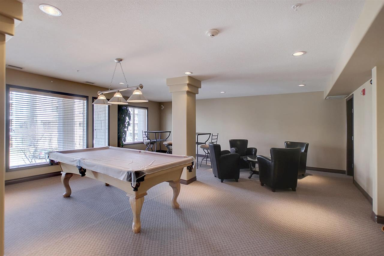 The  combined amenity room in the B building has a pool table, small kitchen area, poker table, seating and a washroom. This room can be reserved.