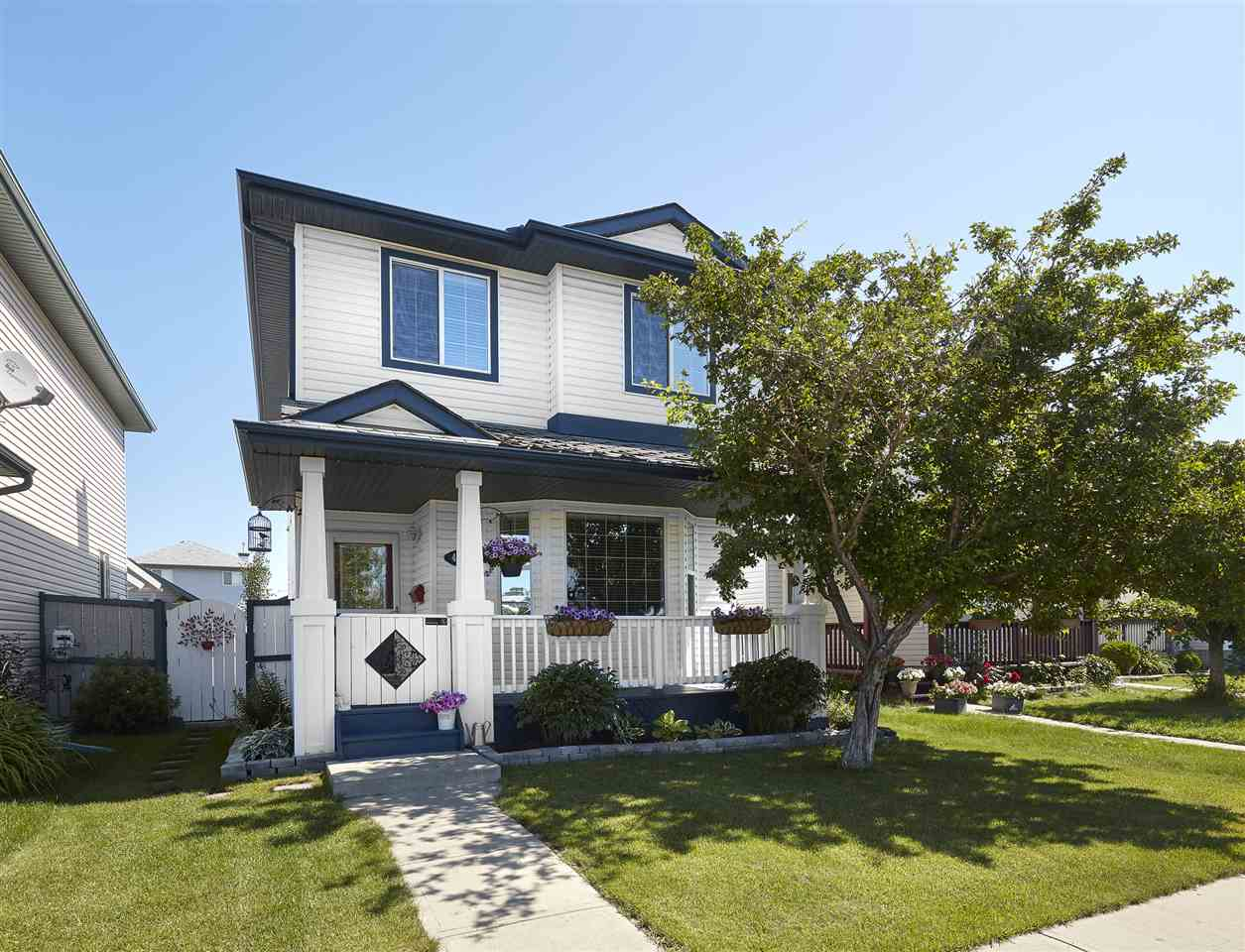Incredible location, on a quiet cul-de-sac, in Miller! This beautiful 2 storey family home has over 1255sqft; 4 bedrooms, 2.5 bathrooms, fully finished basement & double detached garage (21.4 x 19.7)!  Entering the home you will love the large foyer with tile flooring.  Step into the bright & spacious living room with beautiful hardwood flooring throughout.  The large eat-in kitchen has a prep island, ample counter/cabinet space & large dining area.  The back entrance/boot room & ½ bathroom complete the main level.  Upstairs the large master bedroom has a walk-in closet, bedrooms 2 & 3 are both a great size & a 4 piece bath completes the upper level.  Downstairs you will love the large family room, 4th bedroom, 4 piece bath, laundry room & storage!  Outside relax on the large deck & enjoy the beautifully landscaped, fully fenced backyard.  Close to all amenities, schools, shopping (Manning Town Centre) & more!  AC also included for the HOT days of Summer!!!