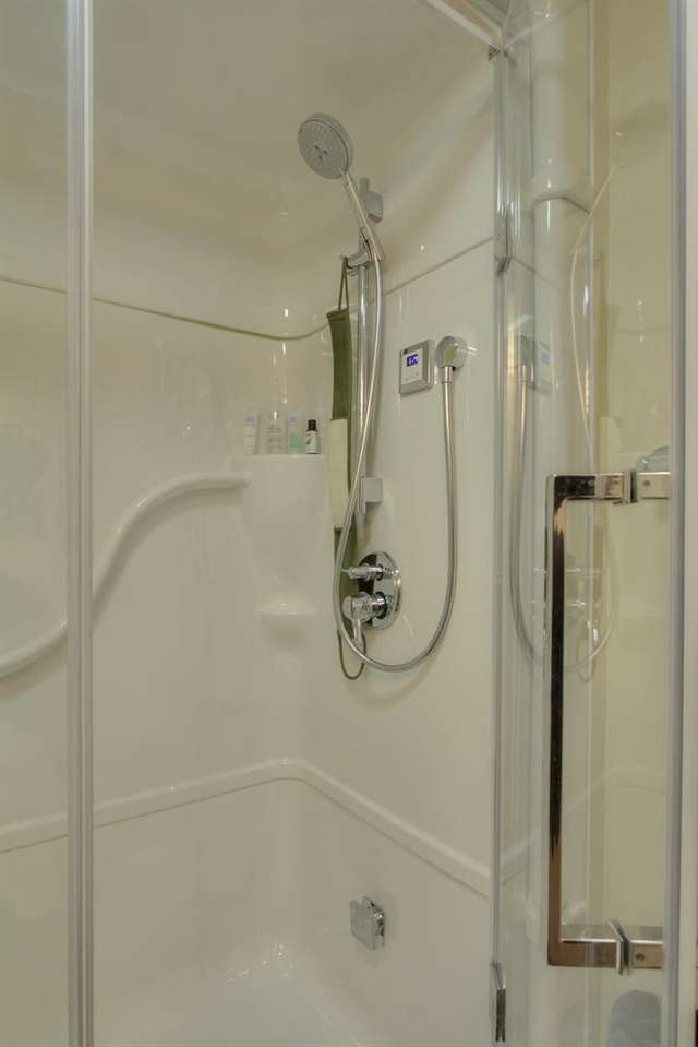 The basement bathroom includes a steamer shower with high end shower attachments.
