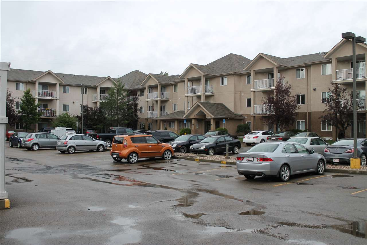 Well maintained 2 Bedroom, 2 Bathroom, 829sqft Main Floor Condo Steps from Shopping, Restaurants, Coffees Shops, Public Transit, CFB Edmonton & the ERC. Quick access to the Henday or to downtown via 97st! Great Layout with the Bedrooms on each side of the unit and open concept Living Room & Kitchen in the middle! Unit has In-suite Laundry, Covered Patio & Assigned Parking Stall.