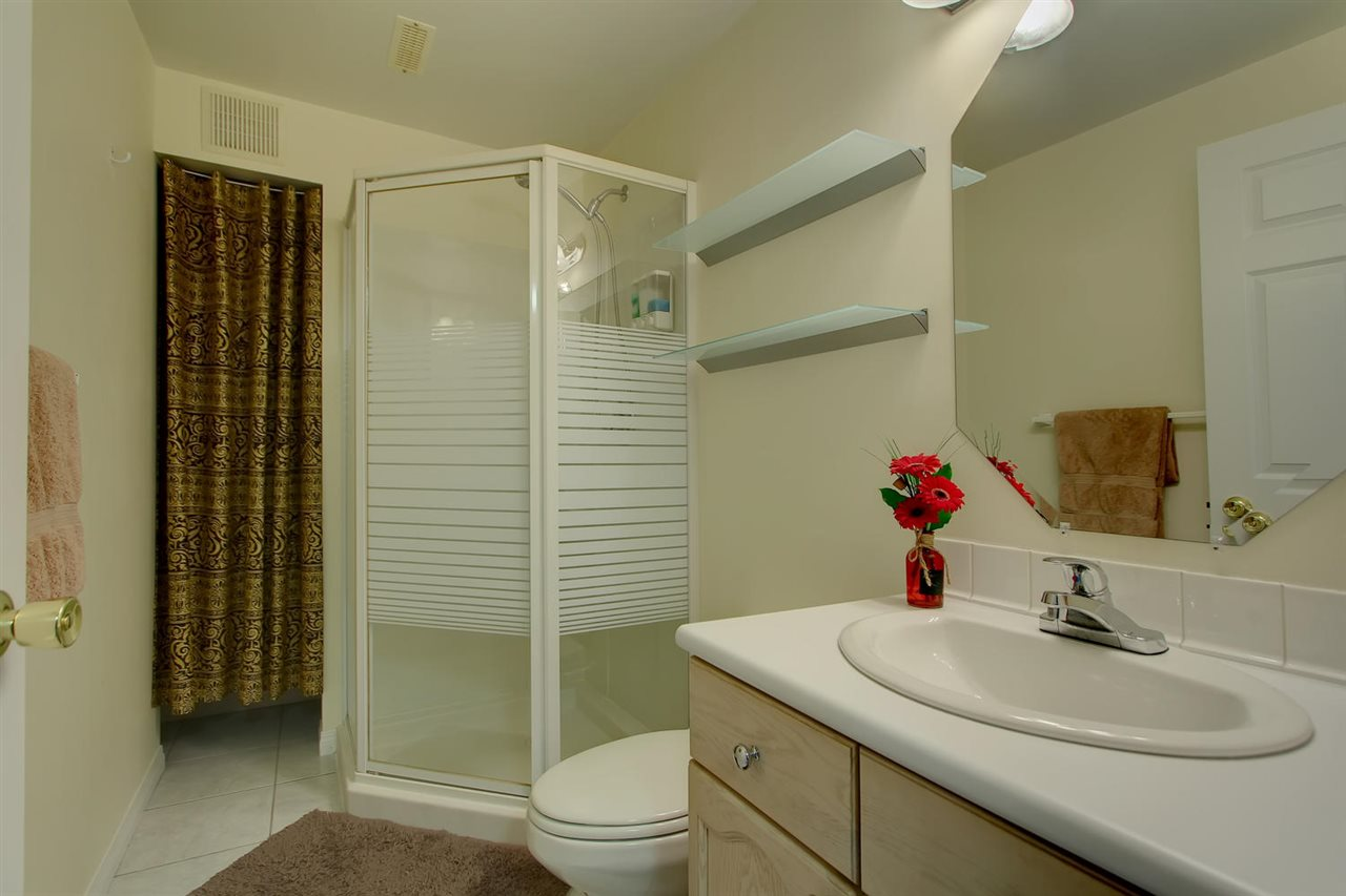 The basement bathroom has a nice neo angle shower and this bathroom makes the basement much more usable.
