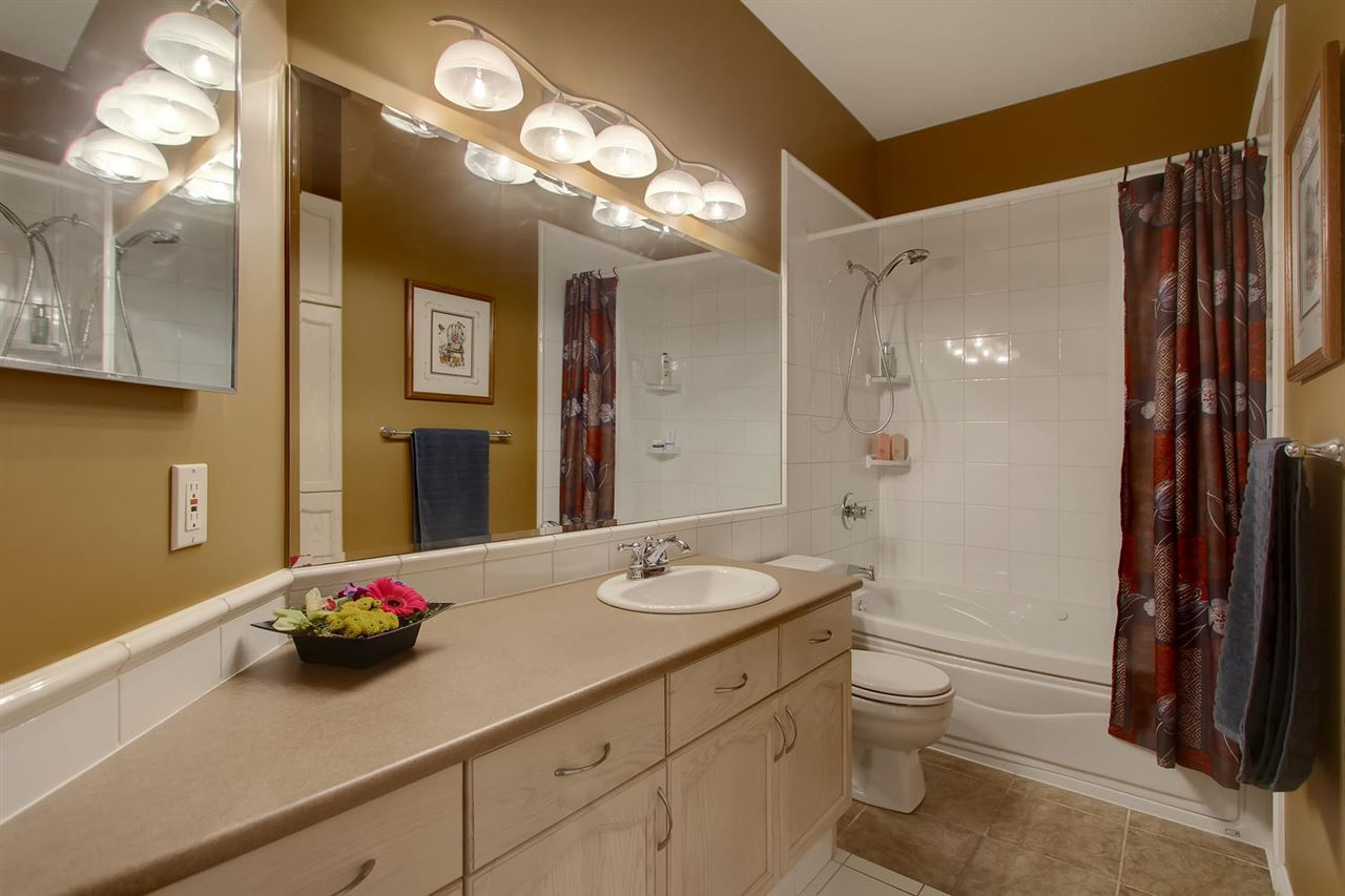 The spacious main bathroom has a jetted tub. The large vanity is very handy and there is a second vac pan for sweeping up the ceramic tile floor.