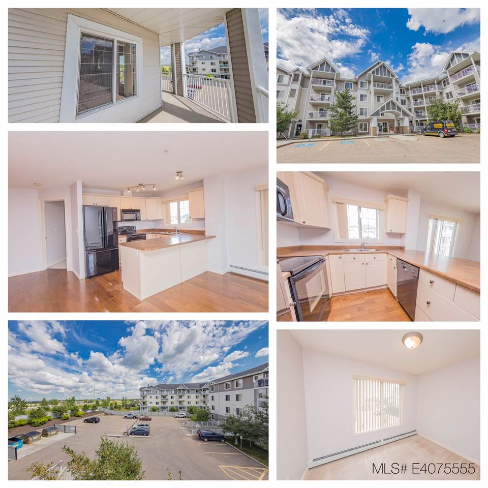 """Lovely, corner unit with a large covered wraparound balcony, located just a few blocks from the Whitemud and Henday makes getting around the city quick and easy. Maple cabinets give a nice clean look in the kitchen with, eat up bar, and  engineered oak chestnut hardwood and carpet throughout the home. 2 bed 2 bath, master includes a walk through closet, and 4 pce. bath. Condo comes complete w/ 2 titled parking stalls one underground and one surface stall, assigned same floor storage locker, in-suite laundry, and BBQ gas hookup. Building amenities include a fitness centre on the 2nd floor. Just behind your home you?ll find all the shops and grocery stores you?ll need! City of Edmonton?s brand new meadows recreation centre is just a short 5 minute drive down the road. Heat and water are included in the condo fees. Take a look today and get ready to move right in! Visit """"Realtors"""" website for more details."""