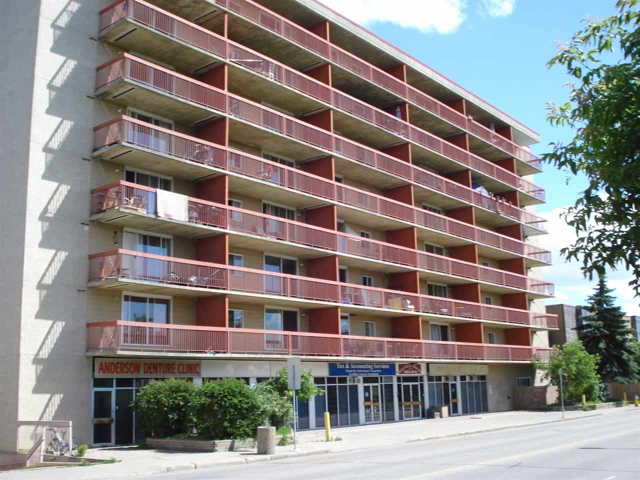 This bright corner unit features 2 good sized bedrooms, a newer kitchen & 4 piece Bath & updated flooring. Enjoy your morning coffee on the large east facing balcony with private storage room. Recent building upgrades include; Elevator fully serviced last year, and new security system installed with camerals in the parkade, and at the front & back entrances. Laundry facility on the same floor, just 2 doors down the hall. Great property for first time buyers, students or investors. Concrete building for added soundproofing too. Close to downtown, the LRT, Public Transit & Shopping! As an added bonus the seller is willing to paint with your chosen colors before possession!
