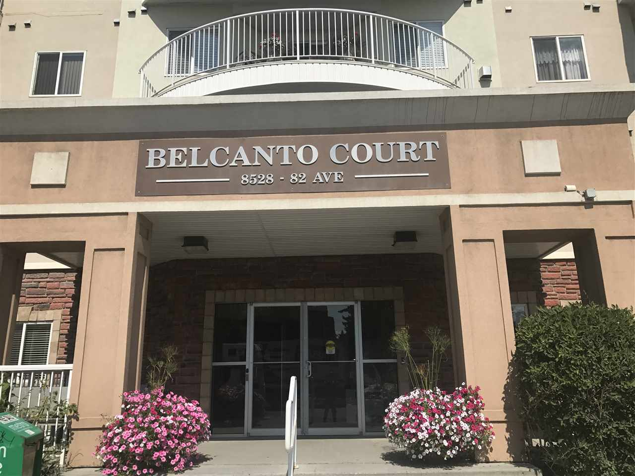 Welcome to Belcanto Court! This (45+) building is perfectly situated steps away from Bonnie Down shopping centre with a Safeway, and tons of shopping. It is also located very central so it has commute to downtown, and all the shops along Whyte Ave. This unit is nice and spacious with 2 bedrooms, 2 bathrooms, a large laundry room and a very open kitchen looking into your inviting living room with a gas fireplace. The large patio is perfect for anyone that loves to garden. This unit does have air-conditioning, and the building features a social room and a car wash!