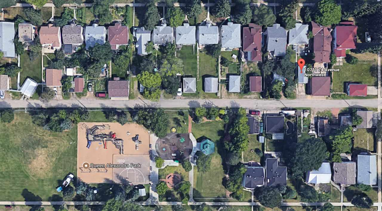 """Here is an AMAZING opportunity to build your dream home in the desirable and central community of Queen Alexandra. This property has a south facing back yard and shares the block with Queen Alexandra Park which hosts a beautiful playground and spray park. Great accessibility to University, Whyte Ave, downtown and south Edmonton. The 33' x 132' lot is zoned RF3 and a brand new real property report will further your redevelopment approval process. This property is being sold """"as-is"""" for lot value only as the home requires more work than it is worth to renovate."""
