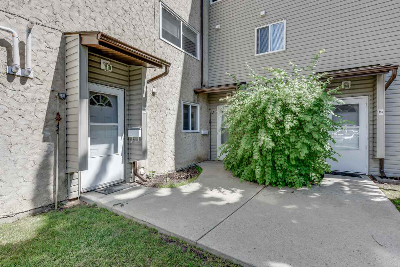 This 2 1/2 storey townhouse is in an excellent location. Only minutes to West Edmonton Mall and Mayfield Common! It has recently been painted and has easy to clean floors for those with a busy lifestyle or children. The second floor has 2 large bedrooms and a 4 piece bathroom. The third floor is a loft with a huge storage room! You'll also love the south facing, fenced yard that backs onto a green-space. There is also a new hot water tank and new carpets throughout. This home is perfect for a first time home buyer or a family!