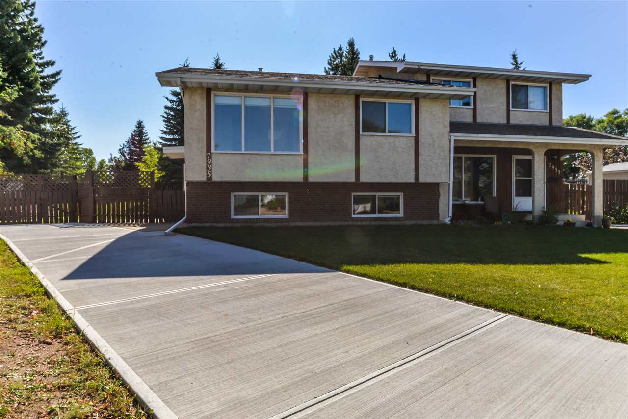 Bi-Level Half Duplex with No Condo Fee?s In Pineview! The main floor offers a large living room, kitchen with updated cabinets & an eat-in dining space, 2 large bedrooms & a full bathroom. Downstairs is a finished living room space with newer vinyl tiles and could be used as a 3rd bedroom, an upgraded bathroom & large storage area that could have an additional bedroom added.  Upgrades include a High Efficiency Furnace in 2011, Hot Water Tank in 2009,  Shingles in 2011, New Concrete Driveway in 2017 & fresh new Sod in the front. The huge backyard with a storage shed would give plenty of space for future garage. The other side is also being sold, 7933 95B Ave, so this presents an Excellent Opportunity for any Investor!