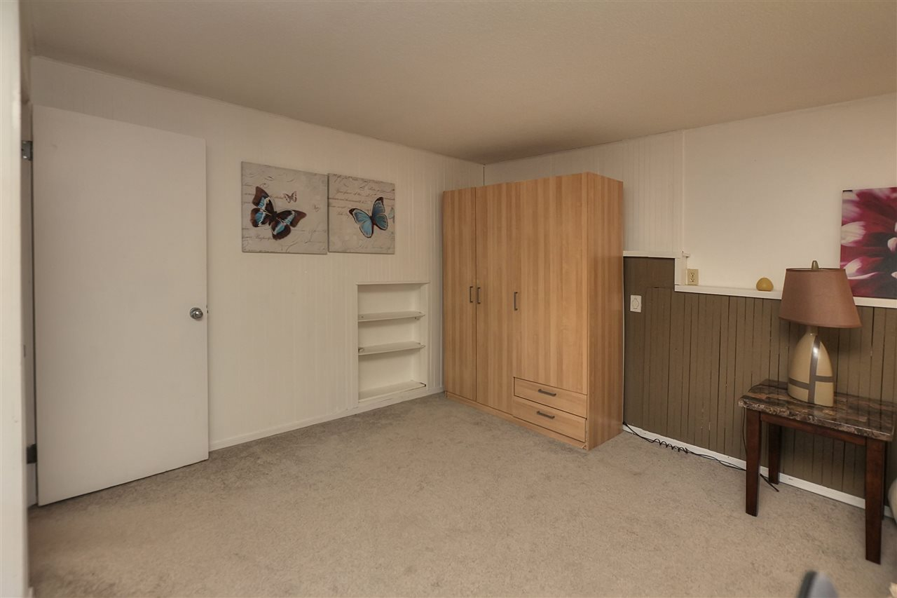 The basement room is wider at one end... It allows for a good space for storage.