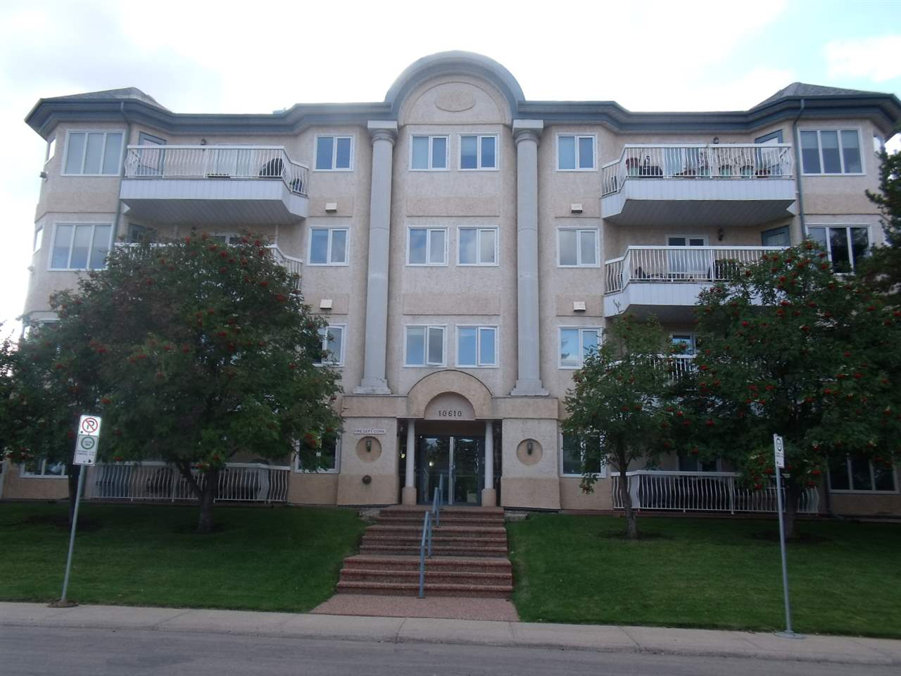 Well-kept spacious 1270 sq.ft. 2 Bdrm. 2 Bathrm. Top Floor Corner Unit in the Californian Capilano located in mature Forest Heights. This Upgraded unit features a huge, bright Living Rm. w/9 ft. ceiling, New Hardwood flooring, Gas Fireplace & Garden Door to roomy Deck w/Gas outlet for BBQ, overlooking the Picnic Area & Gazebo. Separate Dining Rm. off the Living Rm. with double French Doors could also be used as a 3rd Bedrm. Den or Office. Spacious Master Bedrm. has walk-thru closet to ensuite Bathroom. Another full Bath is conveniently located across from the Guest Bedroom. Large Kitchen area w/Eating Bar, ample Oak Cabinets & Counter space. Corner Pantry & good-sized Laundry Rm. are welcome additions. Upgrades include Vinyl Windows, New Hardwood Flooring, New Carpets, New Paint, New Fixtures. This popular  complex features Titled Heated Underground Parking, plus extra  stall, Storage Rm. Guest Suite, Party Rm & easy access to shopping, Whyte Ave., Downtown, River Valley Trails & Recreation Facilities.