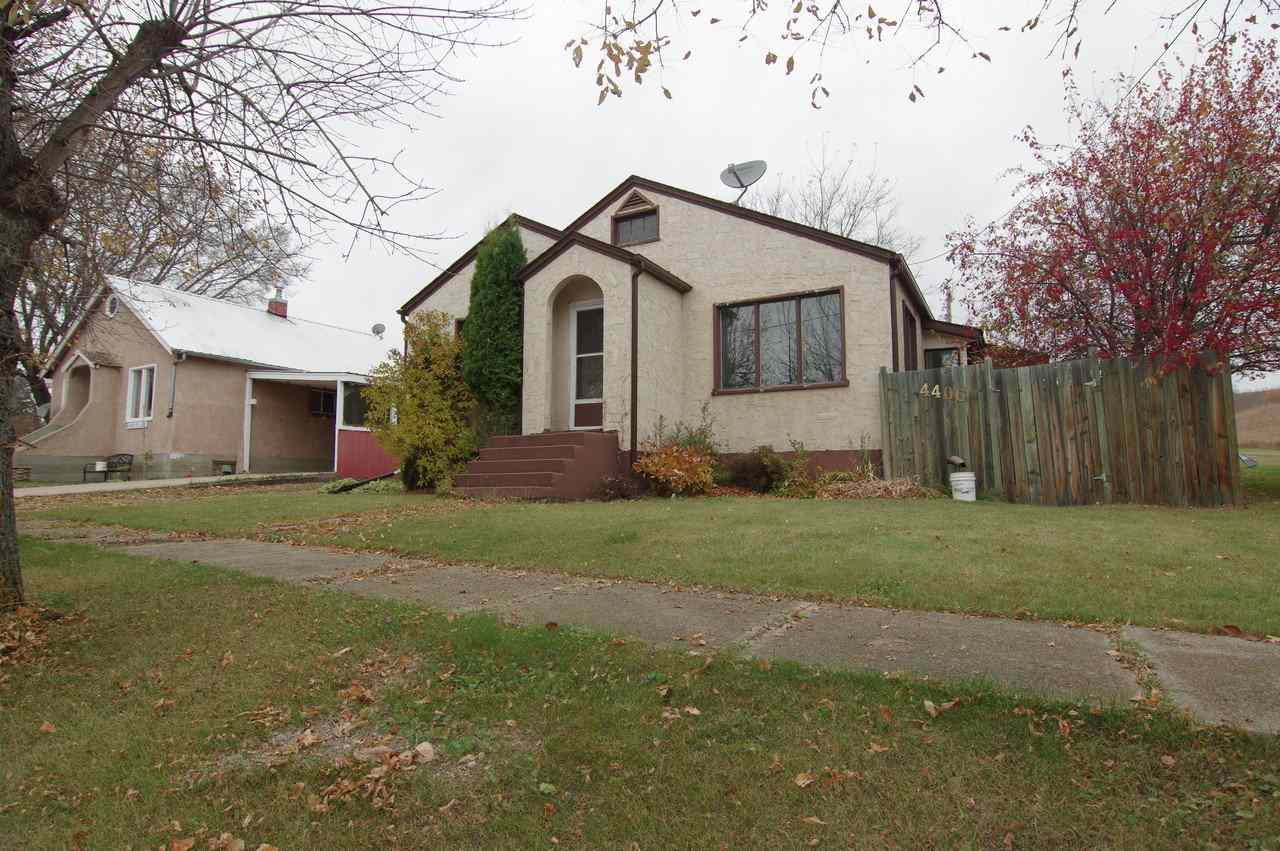 Charming Home with Small Town Living. This charming 844 sq. ft home is situated in quiet Myrnam. This great starter home has 2 bedrooms upstairs 1 bedroom downstairs. The fenced, well treed and landscaped yard has a 12'x20' shed in the backyard.