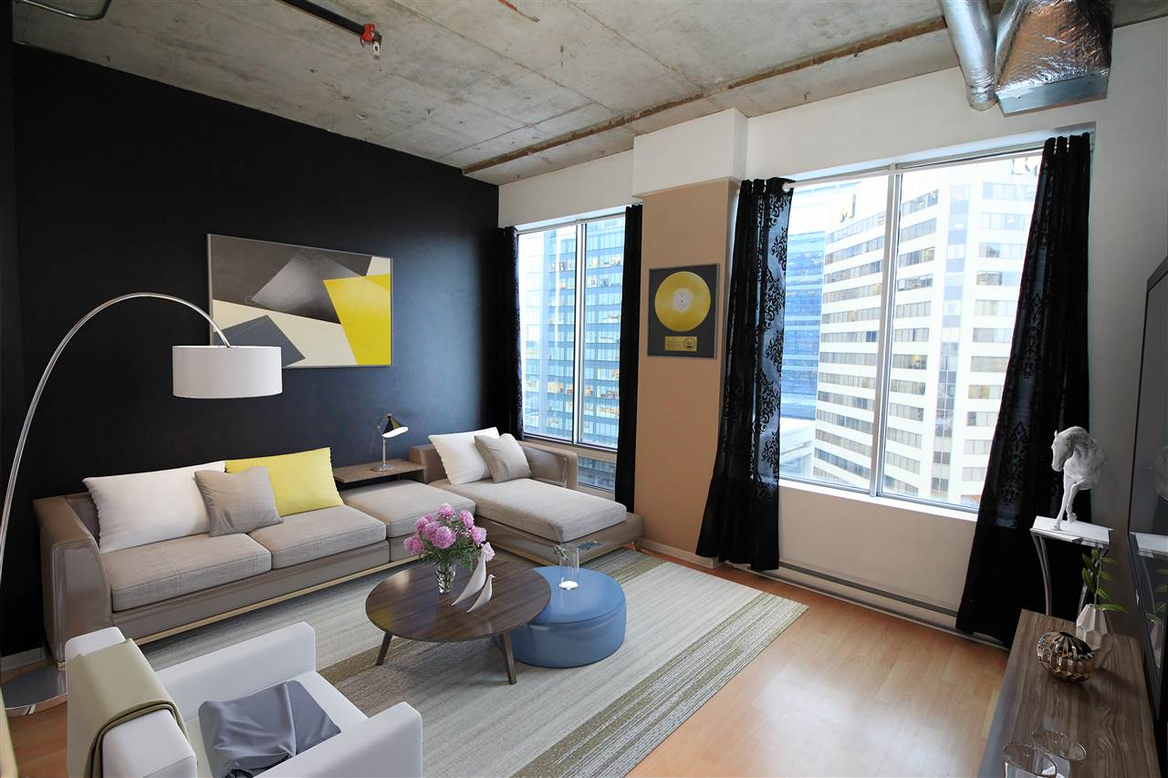Looking to stop renting & to move into a condo with easy access to LRT, transit & downtown restaurants? Thinking of buying a rental property in a well managed building? Similar units are renting on Airbnb for $113/night which brings instant cash flow! Check out this 1 bedroom condo with exposed concrete ceilings & a spacious living area. Unlike others, this home has 2 LARGE WINDOWS with a view of the City, not just one! Hate washing dishes? No problem as the dishwasher & all other appliances are included ? plus INSUITE LAUNDRY! This home has plenty of space to relax after work or when you?re studying for exams. With direct access to the LRT, Jasper Ave & minutes from Rogers Arena, the Ice District & 104th street, this is the spot to be. Easy access to the University, Nait & Grant MacEwan ? LRT at your front door! Come see for yourself & move in right away!